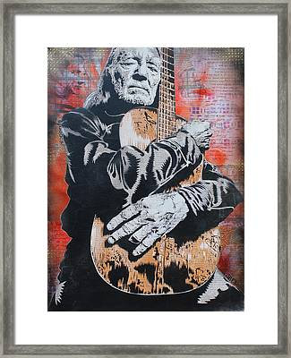 Willie Nelson And Trigger Framed Print by Josh Cardinali