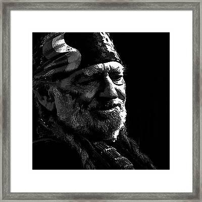 Willie Nelson Bw2 Framed Print