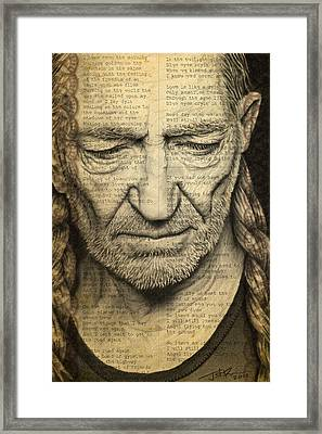 Willie Nelson Drawing Framed Print