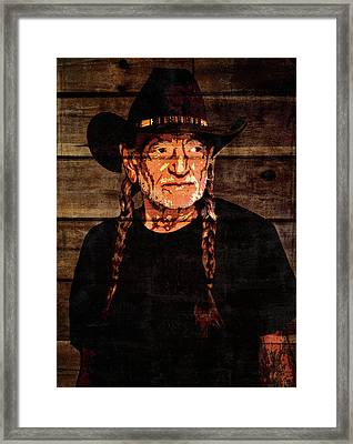 Willie Nelson Grunge Barn Door Framed Print