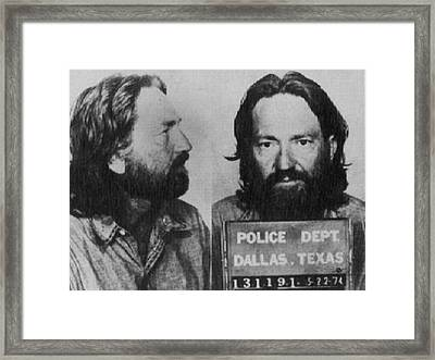 Willie Nelson Mug Shot Horizontal Black And White Framed Print