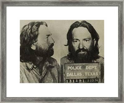 Willie Nelson Mug Shot Horizontal Sepia Framed Print