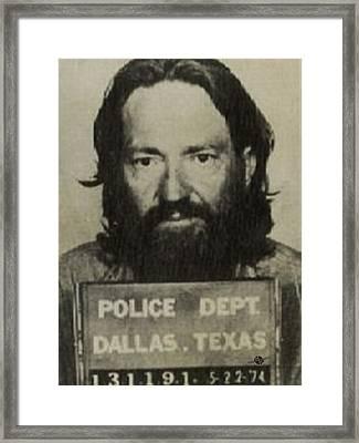 Willie Nelson Mug Shot Vertical Sepia Framed Print