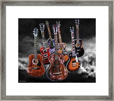 Willie Nelson Slash Martin Elvis Johnny Cash Guitar's  Framed Print