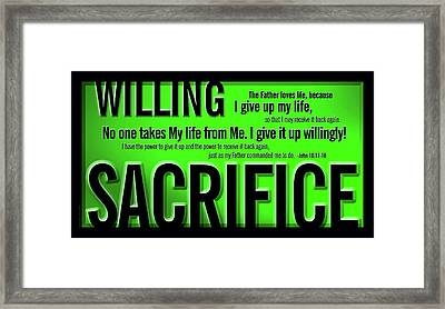 Framed Print featuring the digital art Willing Sacrifice by Shevon Johnson