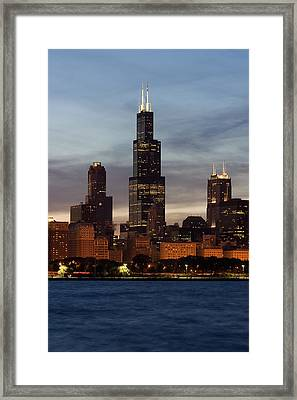 Willis Tower At Dusk Aka Sears Tower Framed Print by Adam Romanowicz