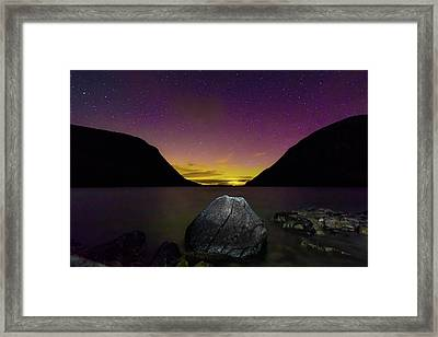 Willoughby Aurora And Boulder Framed Print by Tim Kirchoff