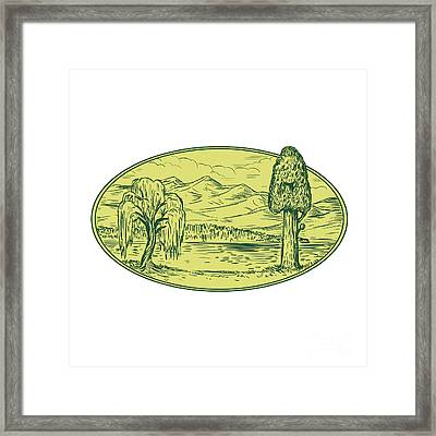 Willow And Sequoia Tree Lake Mountains Oval Drawing Framed Print by Aloysius Patrimonio