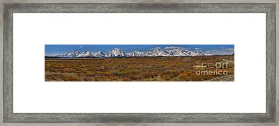 Willow Flats At Grand Teton Panorama Framed Print by Adam Jewell