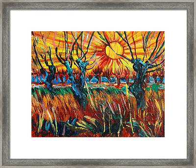 Willows At Sunset - Study Of Vincent Van Gogh Framed Print by Karon Melillo DeVega