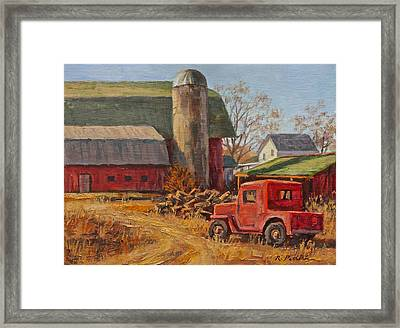 Willys Jeep At Work Framed Print by Robert Perrish