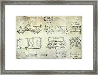 Willys Jeep Blueprint Framed Print by Jon Neidert
