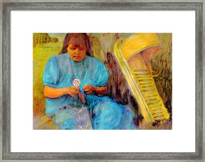 Framed Print featuring the painting Wilmas Beadwork by FeatherStone Studio Julie A Miller