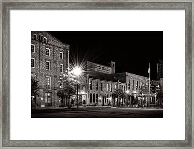 Wilmington Cotton Exchange At Night In Black And White Framed Print