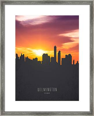 Wilmington Delaware Sunset Skyline 01 Framed Print by Aged Pixel