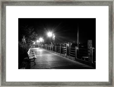Wilmington Riverwalk At Night In Black And White Framed Print