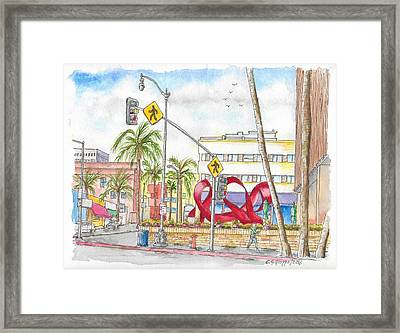 Wilshire Blvd. And Camden Dr, Charles Perry Sculpture, Beverly Hills, California Framed Print