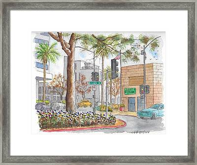 Wilshire Blvd. And Camden Dr., First Republic Bank In Beverly Hills, Ca Framed Print by Carlos G Groppa