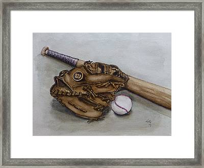 Wilson Baseball Glove And Bat Framed Print
