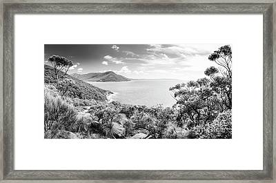 Framed Print featuring the photograph Wilsons Promontory Panorama Black And White by Tim Hester