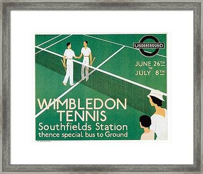 Wimbledon Tennis Southfield Station - London Underground - Retro Travel Poster - Vintage Poster Framed Print