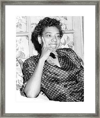 Wimbledon Winner, Althea Gibson, Conducts An Interview From Her Home In Harlem. 1957 Framed Print by Anthony Calvacca