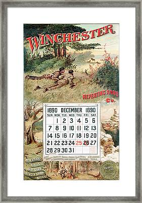 1890 Winchester Repeating Arms And Ammunition Calendar Framed Print