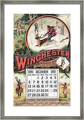 1891 Winchester Repeating Arms And Ammunition Calendar Framed Print