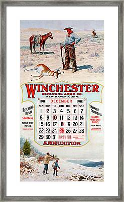 1901 Winchester Repeating Arms And Ammunition Calendar Framed Print