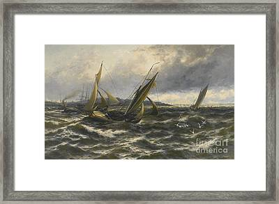 Wind And Sea Rising Off The Isle Of Sheppey Framed Print