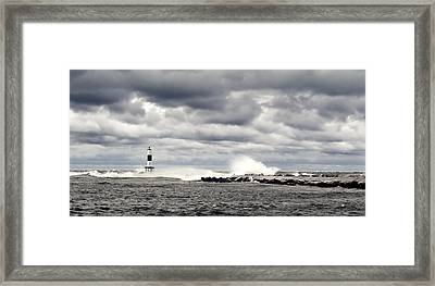 Wind And Waves At Holland Harbor Framed Print by Michelle Calkins