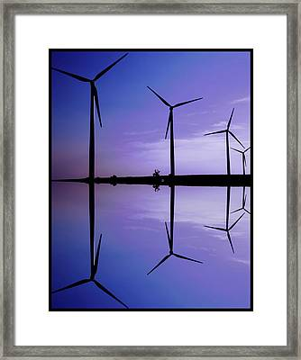 Wind Energy Turbines At Dusk Framed Print