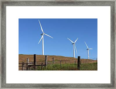 Wind Energy Wind Turbines In A Field Washington State. Framed Print by Gino Rigucci