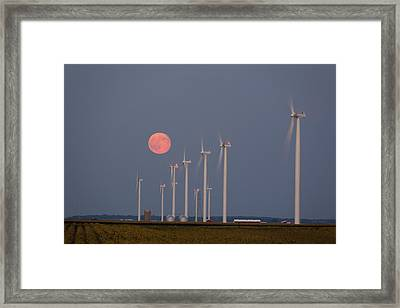 Wind Farm Moonrise Framed Print by Alexey Stiop