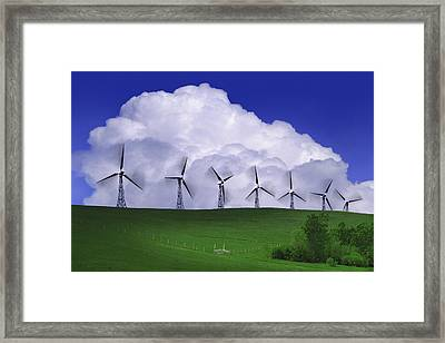 Wind Generators With Clouds In Framed Print by Don Hammond