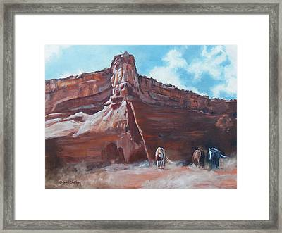 Framed Print featuring the painting Wind Horse Canyon by Karen Kennedy Chatham