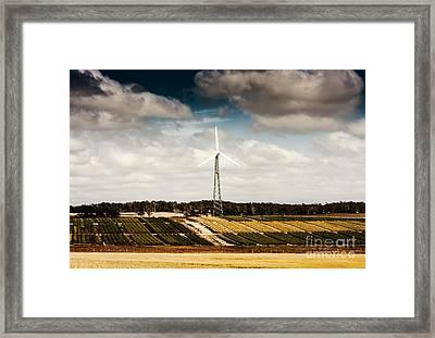 Wind Powered Turbine On Australian Farm Landscape Framed Print by Jorgo Photography - Wall Art Gallery