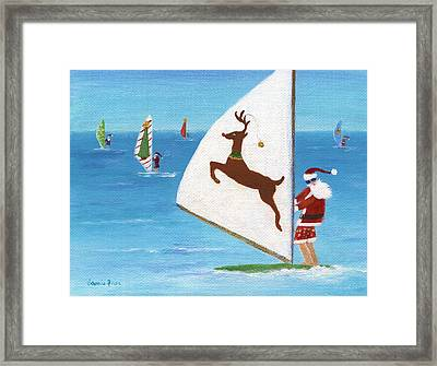 Wind Sailing Santa Framed Print by Jamie Frier