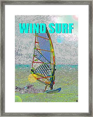 Wind Surf Smart Phone Blue Text Framed Print by David Lee Thompson