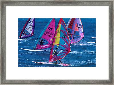 Wind Surfers In Nassau Framed Print by Carl Purcell