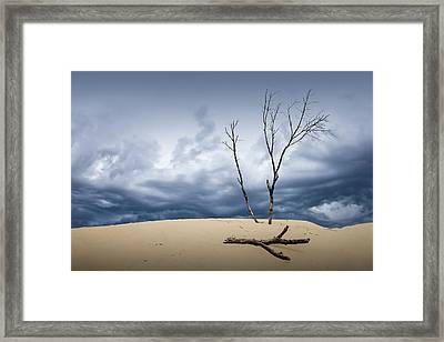 Wind Swept Clouds Over The Dunes Framed Print by Randall Nyhof