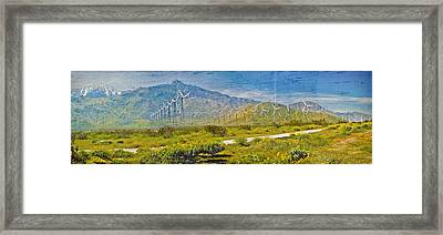 Framed Print featuring the photograph Wind Turbine Farm Palm Springs Ca by David Zanzinger
