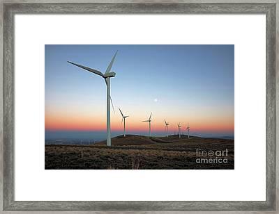 Wind Turbines At Moonrise Framed Print