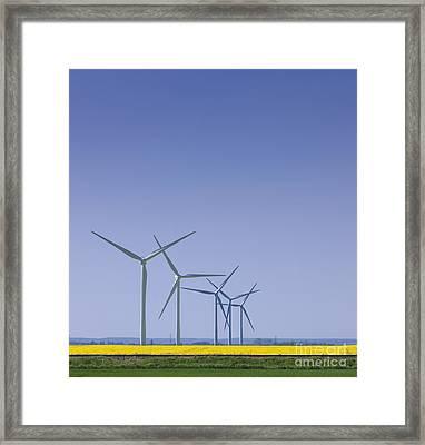 Wind Turbines In Field Framed Print