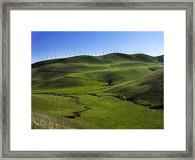 Wind Turbines Line A Mountain Ridge Framed Print by Amy White & Al Petteway