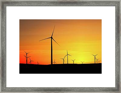 Wind Turbines Silhouette Framed Print by Todd Klassy