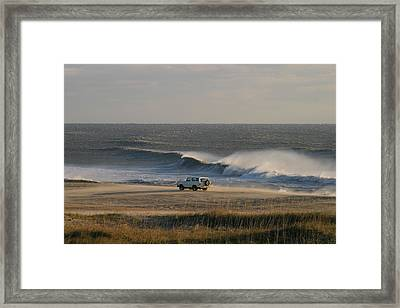 Wind, Waves And Fisherman In An Suv Framed Print