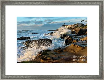 Windansea Beach At High Tide Framed Print by Eddie Yerkish