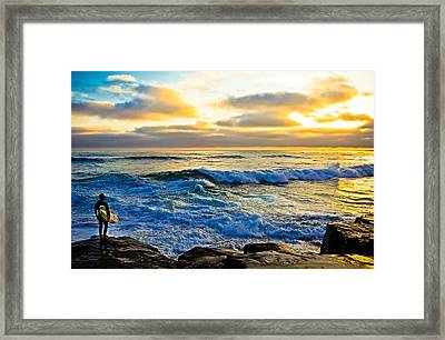 Windansea Sunset Surfer Framed Print by Kelly Wade