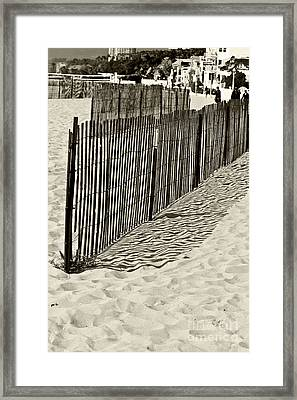 Windbreake On The Beach 2 Framed Print by Micah May